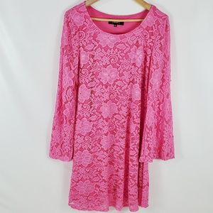 Alexia Admor Pink Lace Bell Sleeve Dress - XL